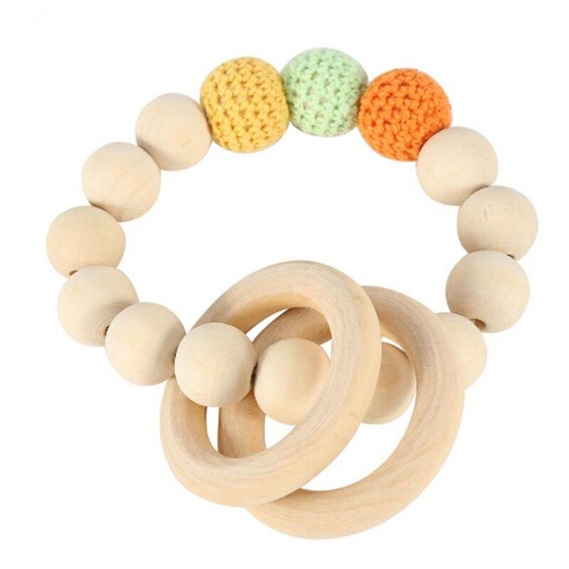 1 juguete de madera Natural para la dentición, cuentas de madera, dientes de bebé para cochecito para recién nacido, juguete colgante, pulsera tejida a mano, juguete para la dentición para niños