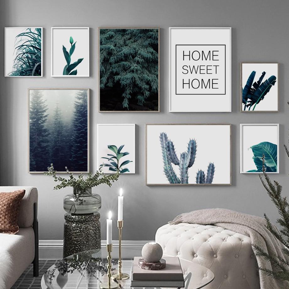 Hojas verdes, Cactus, bosque, Dulce Hogar, cuadro sobre lienzo para pared, carteles nórdicos e impresiones, imágenes de pared para decoración para sala de estar