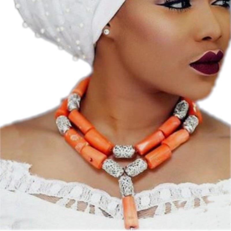 Dudo مجوهرات الكلاسيكية الأفريقي المرجان مطرز مجوهرات 2 طبقات المختنق البرتقال/الأحمر/الأبيض 12 مللي متر + النيجيري النساء الزفاف قلادة مجموعة