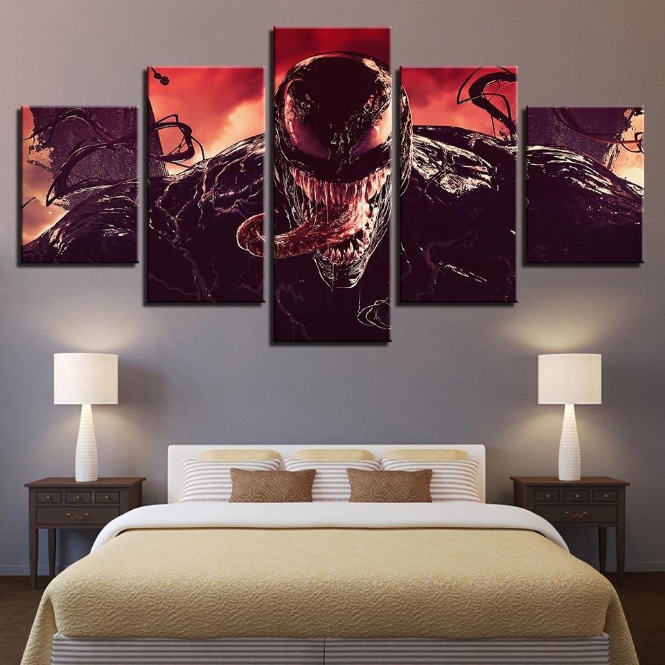 Impresión de la pintura de la pared arte Modular lienzo 5 piezas Venom Movie Tom Hardy Comic póster foto Home Deco para la cabecera chico fondo