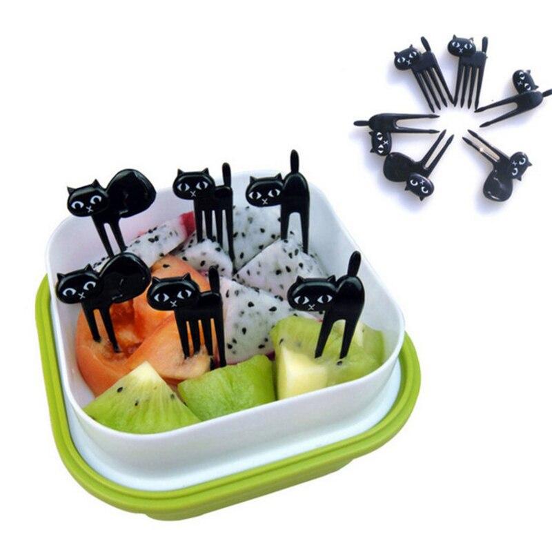 6 unids/set gato negro de la fruta tenedor Mini de dibujos animados postre de pastel de merienda horquillas para comida Bento almuerzos accesorios utensilios de cocina para niños