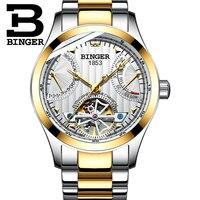Luxury Gold Flying Wheel Mechanical Business Watches Men Self Winding Full Steel Watch Tourbillon Calendar Wristwatch Waterproof