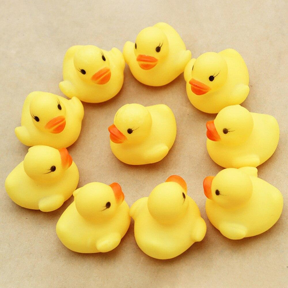 10 шт./лот, мини-Игрушки для маленьких детей, писклявый резиновый утки, для ванной комнаты, водная забавная игра, игрушки для новорожденных мальчиков и девочек
