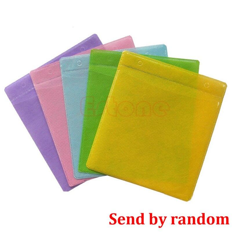 100 pçs cd dvd disco duplo lado caso de armazenamento capa saco manga envelope titular cor aleatória