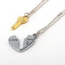 2 unids/set de collares con colgante de corazón y llave de amor para mujeres y caballeros, joyería para parejas, collar de corazón roto, regalo de San Valentín N1362