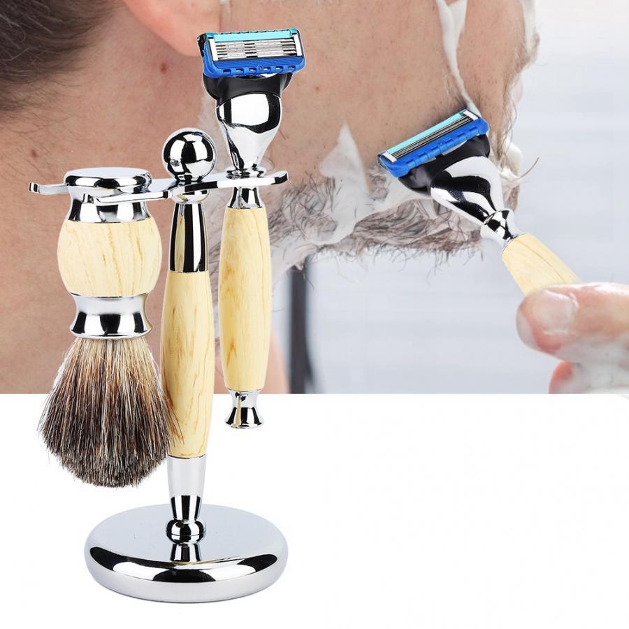 Conjunto de barbear de barba masculina de segurança navalha escova suporte rack kit de barbear manual