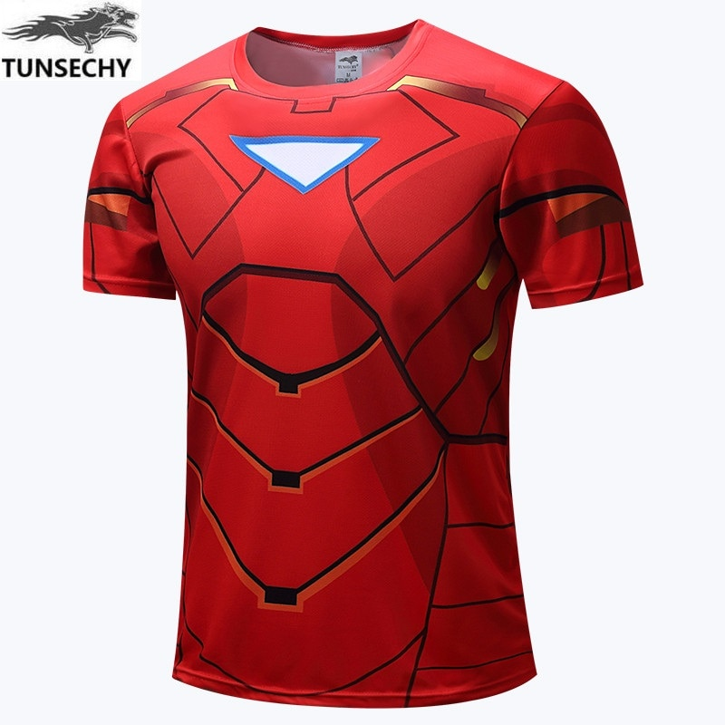 Мужская футболка, мода 2016, эластичная компрессионная рубашка, футболка с человеком-пауком, футболка с короткими рукавами Super Heroe, костюм Чело...