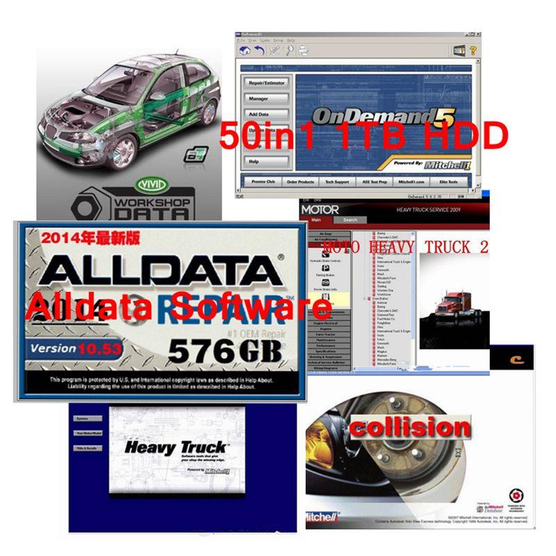 Alldata y mit * chell de reparación de automóviles software nueva llegada Alldata 10,53 + mit * chell en de * mand 2015 + elsa + vivid taller 50in1 tb hdd