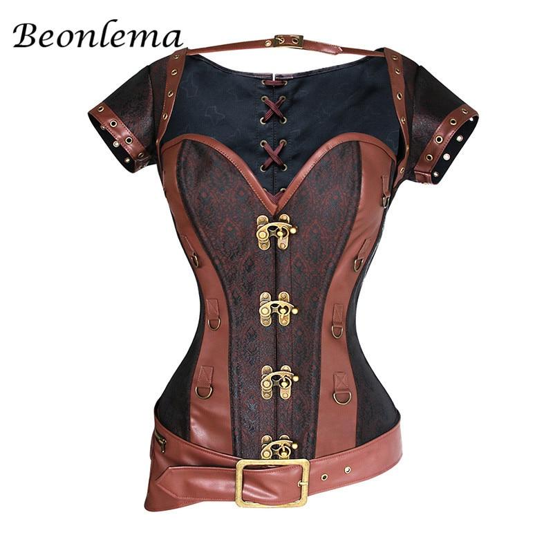 Beonlema Vintage Sexy Bustiers mujeres Goth ropa de talla grande corsé tapas marrón Steampunk acero deshuesado Overbust Korset S-6XL