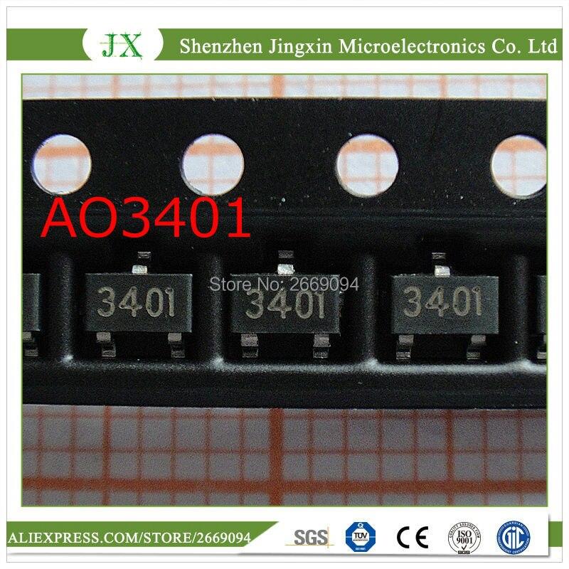 100 unids/lote AO3401A SOT23-3L AO3401 3401 SOT-23 P-Canal transistores MOSFET envío gratis