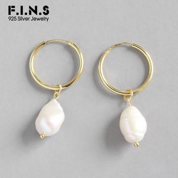 F.I.N.S Genuine 925 Sterling Silver Earrings Woman Irregular Baroque Pearl Earrings Gold Color Circle Drop Earings Fine Jewelry