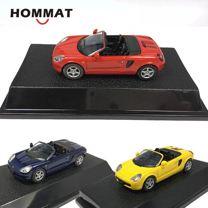Simulación HOMMAT 1/43 MR2 Toyota Convertible modelo deportivo coche juguete de aleación fundida vehículo coleccionable juguetes de modelo de coche para niños