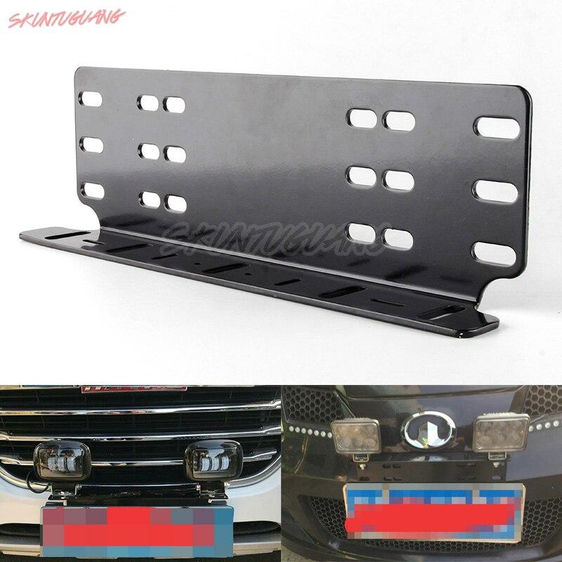 Barra parachoques delantero soporte de placa de matrícula Universal soporte de montaje de coche soporte de soporte barra de luz todoterreno para Jeep camión coche SUV