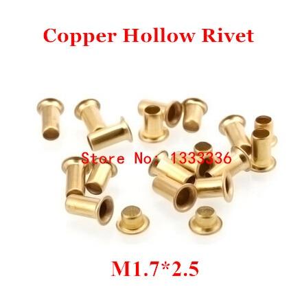 1000 Uds M1.7 * 2,5 (L) cobrizo hueco remache a 1,7mm de doble cara placa de circuito PCB vias las uñas de cobre/cobre de maíz