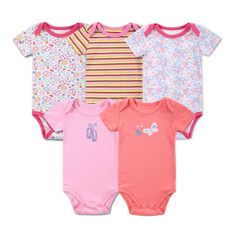 3  5 pçs bebê bodysuit 100% algodão infantil corpo do bebê manga curta macacão impresso bebê menino menina bodysuits roupas do bebê