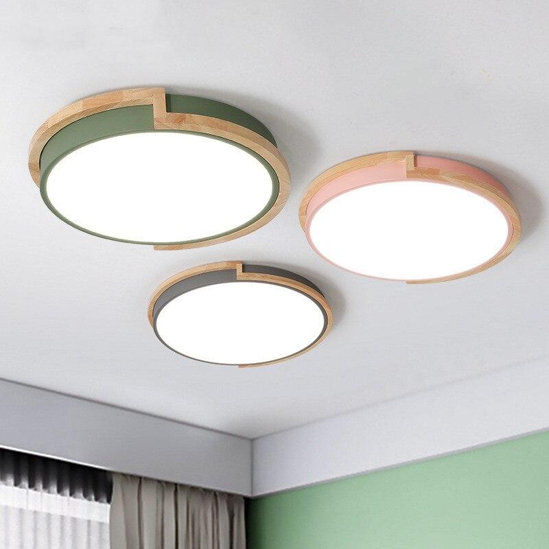مصباح سقف Led دائري خشبي مع جهاز تحكم عن بعد ، حامل سطح ، متعدد الألوان ، مصباح سقف لغرفة النوم أو المطعم
