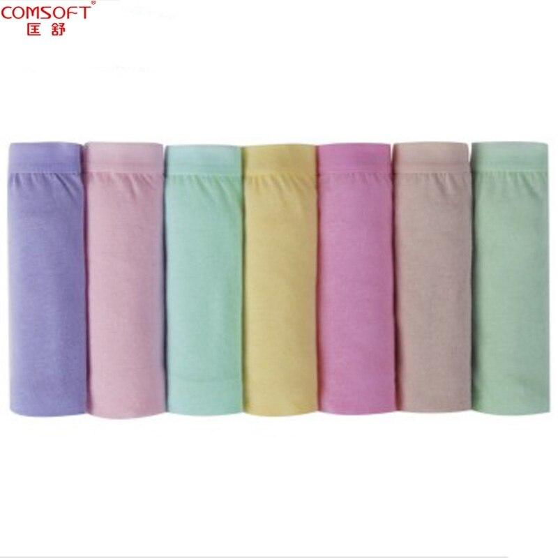Calcinha trigonométrica feminina íntima semanal curta meia cintura para meninas roupa íntima com 100% de algodão 7 peças / lote frete grátis
