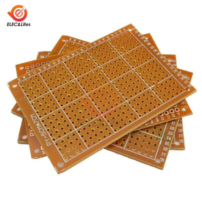 5Pcs Universal PCB BreadBoard 5X7 CM 50x70 mm 2.54mm Hole Pitch DIY Prototype Paper Printed Circuit 5x7cm Single Sided Board