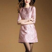 Feminino elegante bordado a linha bonito meia manga o-pescoço festa namoro mini vestido plus size casual roupas vintage h299