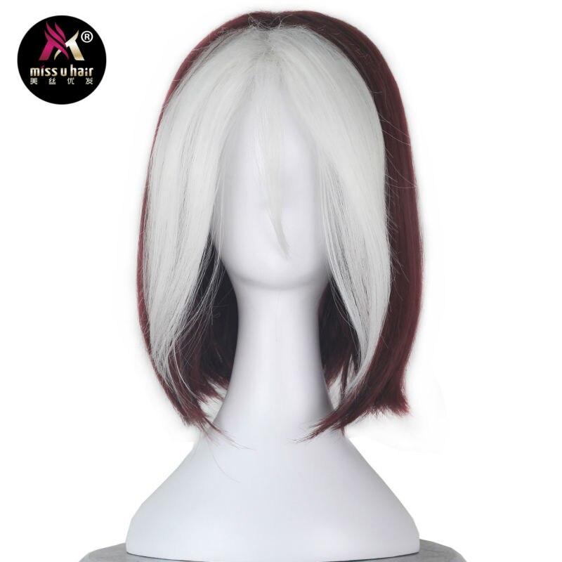 Menina u cabelo curto ondulado borgonha preto marrom e branco fios destaque cabelo festa de filme cosplay peruca traje