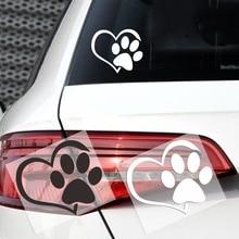 Cute Dog Paw with Peach Heart Car Sticker Cartoon Animal Adopt Dog Cat Love Pet Car Decal 3D Animal Dog Foot Prints Footprint