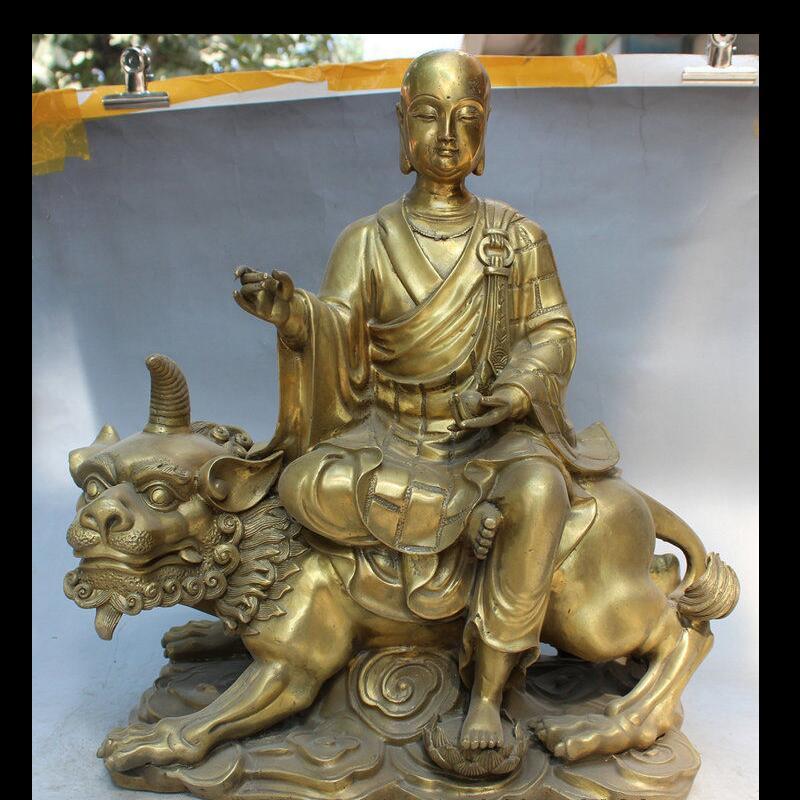 "Wan671040159 + + 18 ""Latón TangSeng Monk Ksitigarbha Bodhisattva Ride Unicorn Lion Statue"
