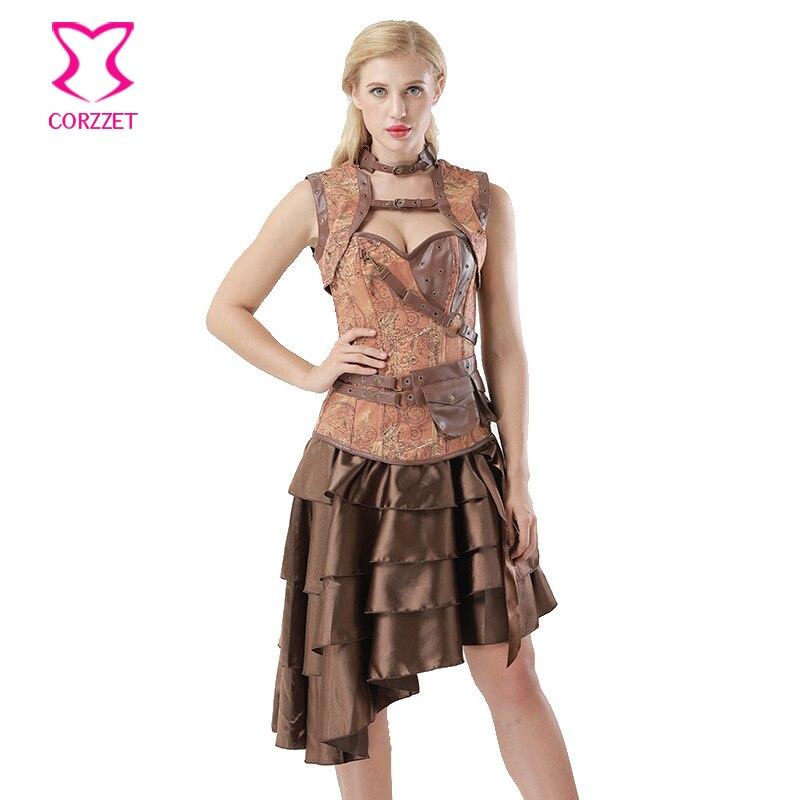 Marrom da Cópia Do Vintage Denim Jacket + Saia + Corset Vestidos Gothic Burlesque Vestido Roupas Steampunk Corselet Mulheres Plus Size 6XL