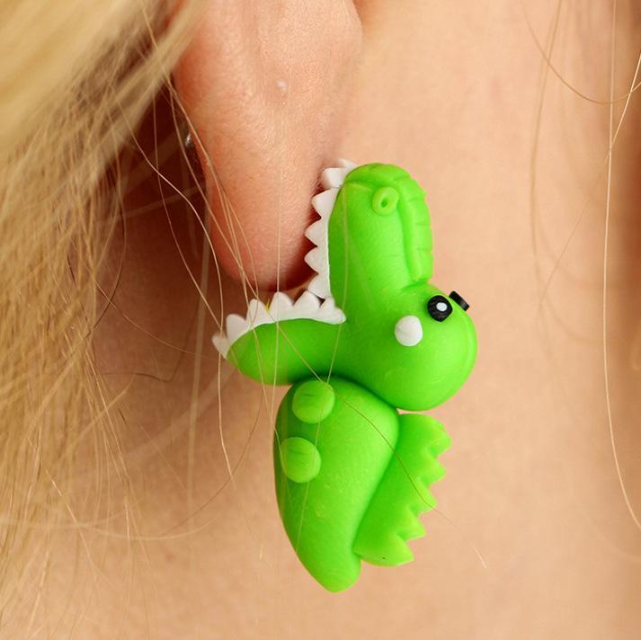 Creative Handmade soft pottery earring Animal bite ears cartoon green Crocodile ear studs