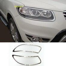 Car Cover Detector ABS Chrome Front Light Lamp Trim Frame 2pcs For Hyundai Santafe Santa Fe 2006 2007 2008 2009 2010 2011 2012