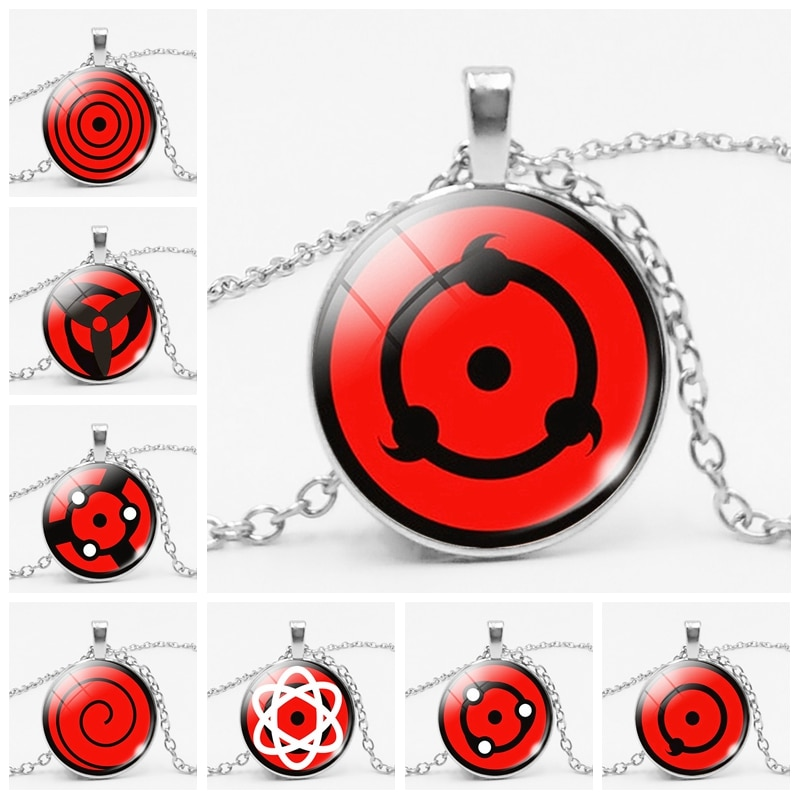 Anime alrededor de la escritura ojos redondos Naruto vidrio convexo colgante redondo, collar Popular piezas colgantes