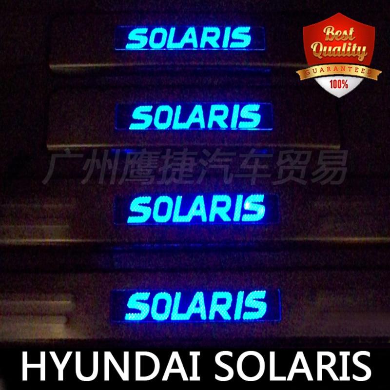 Luz LED azul de Aço Inoxidável do Peitoril Da Porta Scuff Placa do Peitoril Da Porta Threshold para Solaris 2010-2019