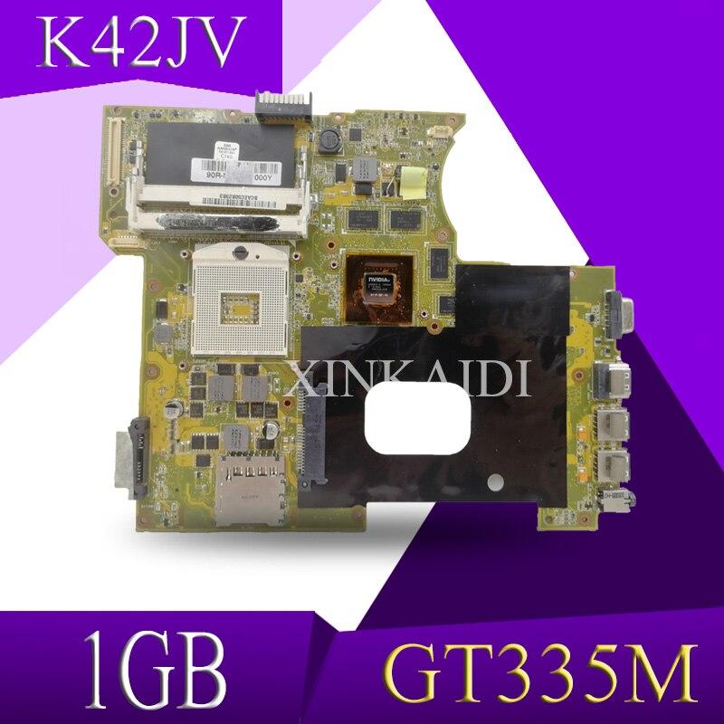 XinKaidi K42JV GT335M 1GB placa base REV2.2 para ASUS A42J X42J K42J K42JR placa base de computadora portátil 60-NZNMB1100-B14 prueba trabajo