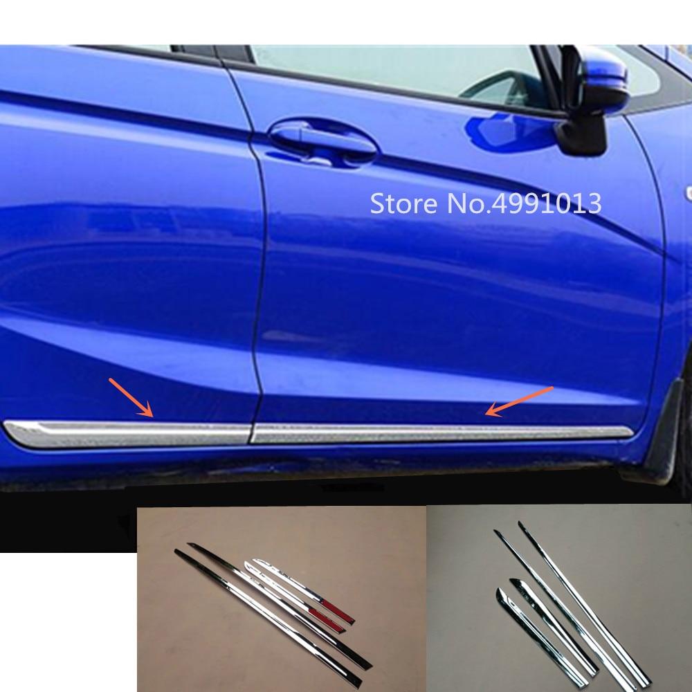 For Honda Fit Jazz 2017 2018 2019 car styling body door trim strip molding stream panel bumper moulding hoods parts 4pcs