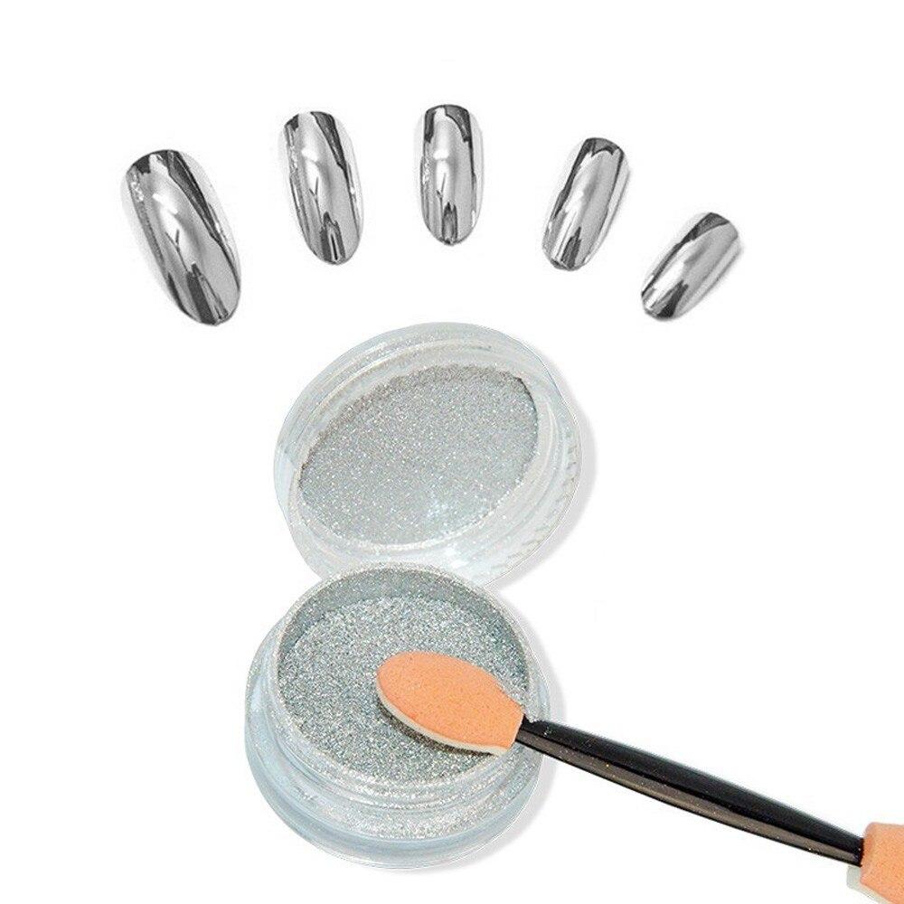 Brillo de uñas espejo de plata de uñas en polvo mujer acabado cromado efecto espejo uña pintura de gel polaco herramienta para uñas DIY