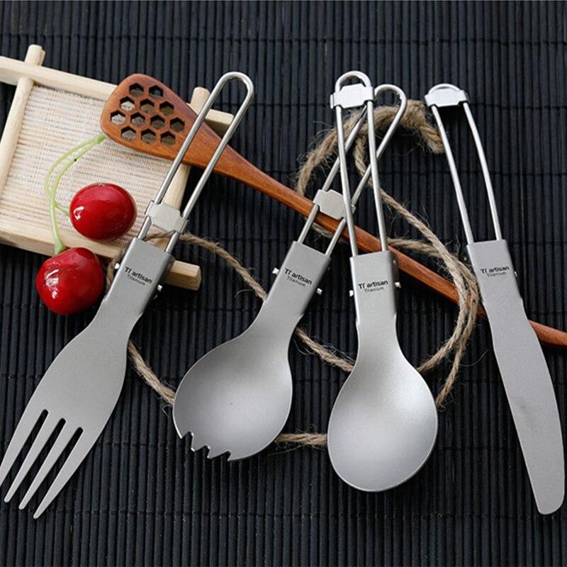 Juego de cubiertos de titanio triartesano, cubertería con tenedor, cuchara para acampar al aire libre, juego de vajilla de titanio puro con bolsa de malla