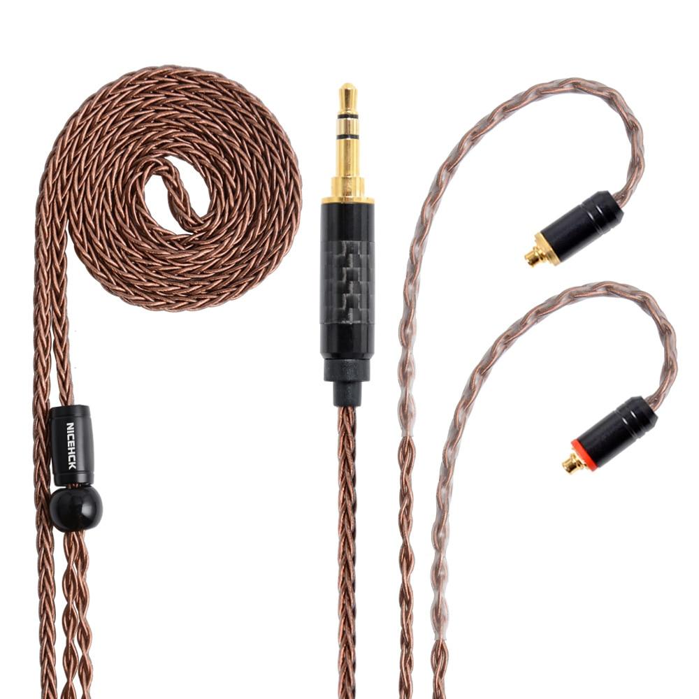 NICEHCK 8 núcleo de cobre de alta pureza Cable de actualización 3,5/2,5/4,4mm enchufe MMCX/2Pin para TFZ ZS10 ZSX C10 C12 V90 NX7 PRO/DB3/F3 BL-03