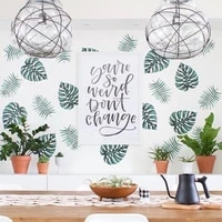 Autocollant Mural en vinyle amovible  feuilles de palmier vertes  Art vegetal  decoration de maison  a la mode