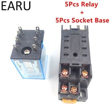5 Juegos MY2P HH52P MY2NJ relé bobina General DPDT Micro Mini relé electromagnético interruptor con Base de zócalo AC 110V 220V DC 12V 24V