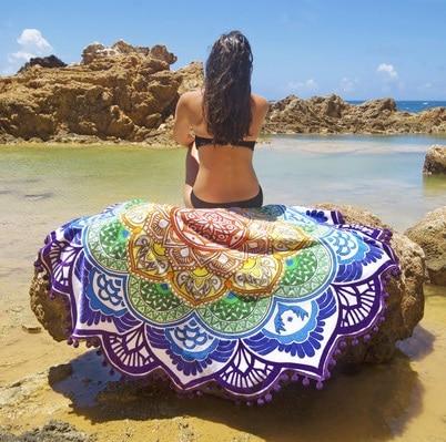 Tapiz 150cm colorida Flor De poliéster alfombra redonda borla De estilo Bohemia Mandala tapiz servilleta De Plage toalla playa