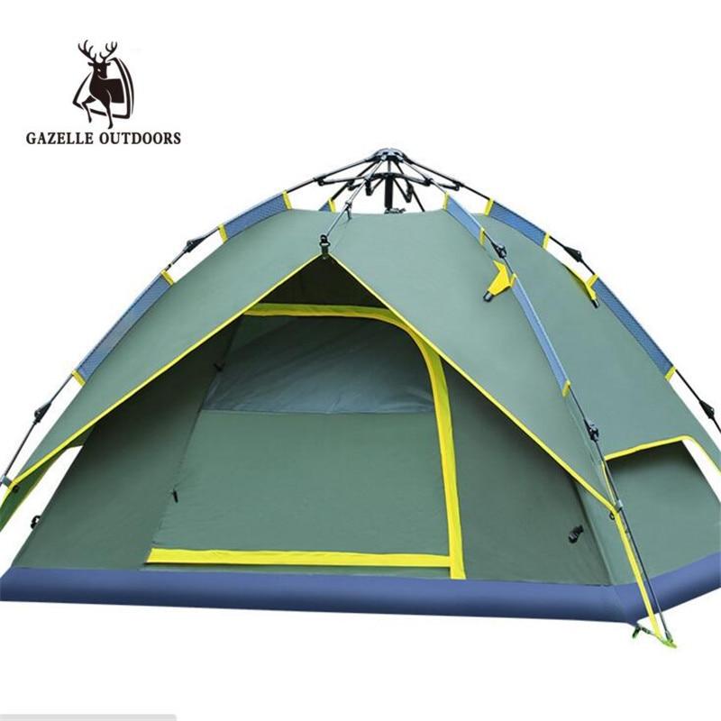 Палатка Газель для улицы, Новое поступление, для 3-4 человек, 200*180*135 см, двухслойная палатка для кемпинга, походов, путешествий, игр, алюминиев...