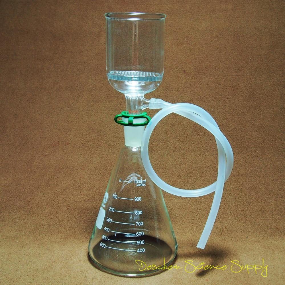 1000 ml, 24/40, Kit de filtración de succión de laboratorio, embudo de Buchner ID 70mm, matraz Erlenmeyer de 1 L