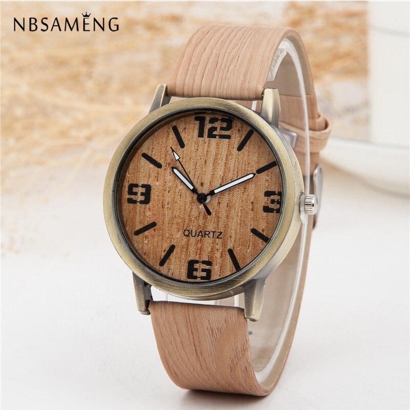 Новые винтажные деревянные женские часы, мужские повседневные часы с кожаным ремешком, деревянные женские наручные часы, Relogio Masculino Relogio ...