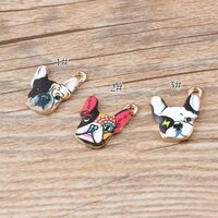 10pcs oil drop gold alloy printing dog charms diy jewelry enamel printing design animal dog head charms pendant findings making