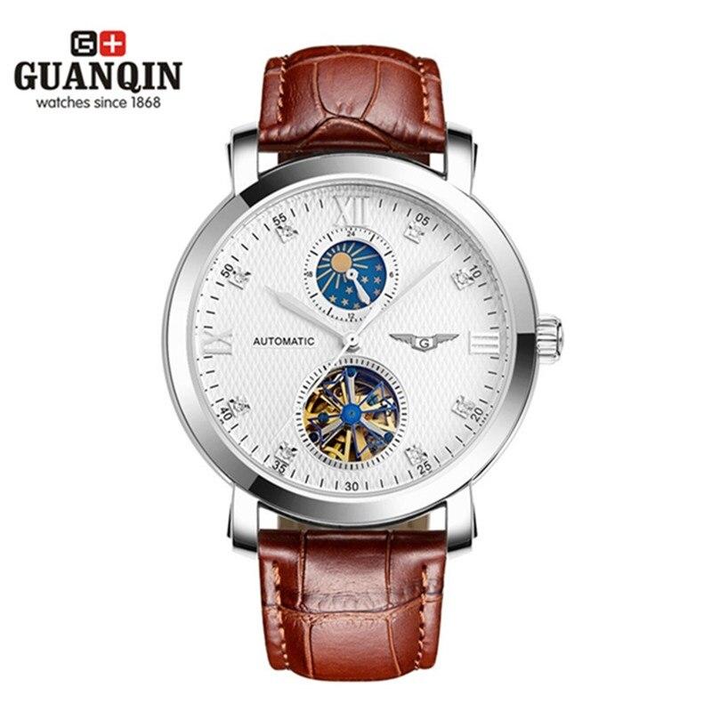 Мужские часы GUANQIN, армейские часы Tourbillon с кожаным ударопрочным ремешком, водонепроницаемые