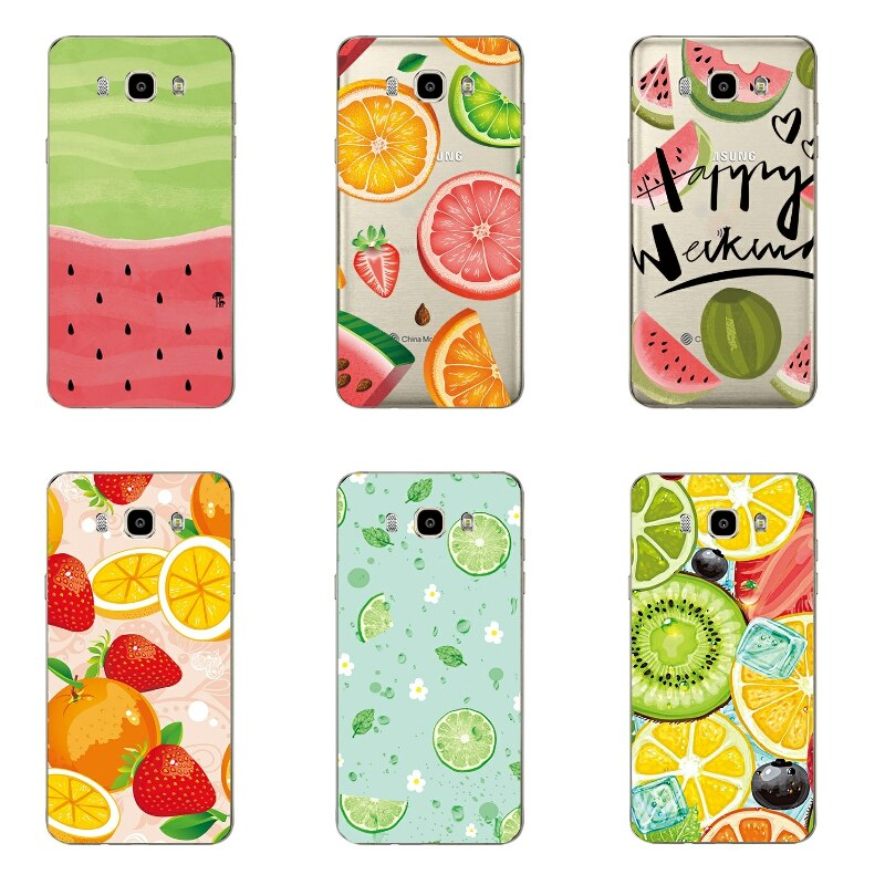 Para Samsung Galaxy J7 2016 Tampa Caixa Do Telefone Para Galaxy J710F J7109 Transparente Ultra Fina Fruta Melancia Capa Gel