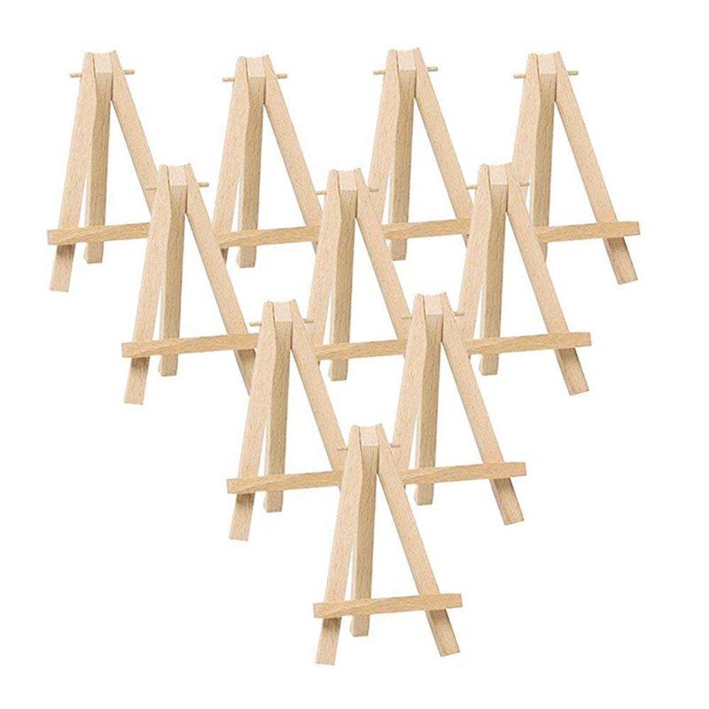 10 Uds de madera Mini caballete para artista-triángulo de boda, soporte de mesa de pantalla-15X8 Cm