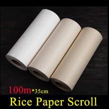 Rollo de papel de arroz de paja de color natural de 100m para pintar caligrafía suministro de arte escolar