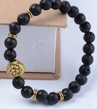 8mm xt32 oro elástico ajustado encanto León de cobre naturaleza piedra negra volcánica lava pulsera Reiki chakra Buddha Yoga