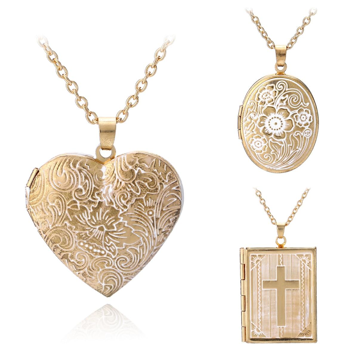 Collar con medallón cruzado de Shellhard, joyería de moda de Color dorado, corazón de memoria, collares con colgante relicario para mujeres y hombres