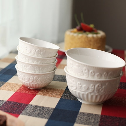 free shipping white bowls 5pcs/set  rice bowls European export reliefs The baroque ceramic S/L